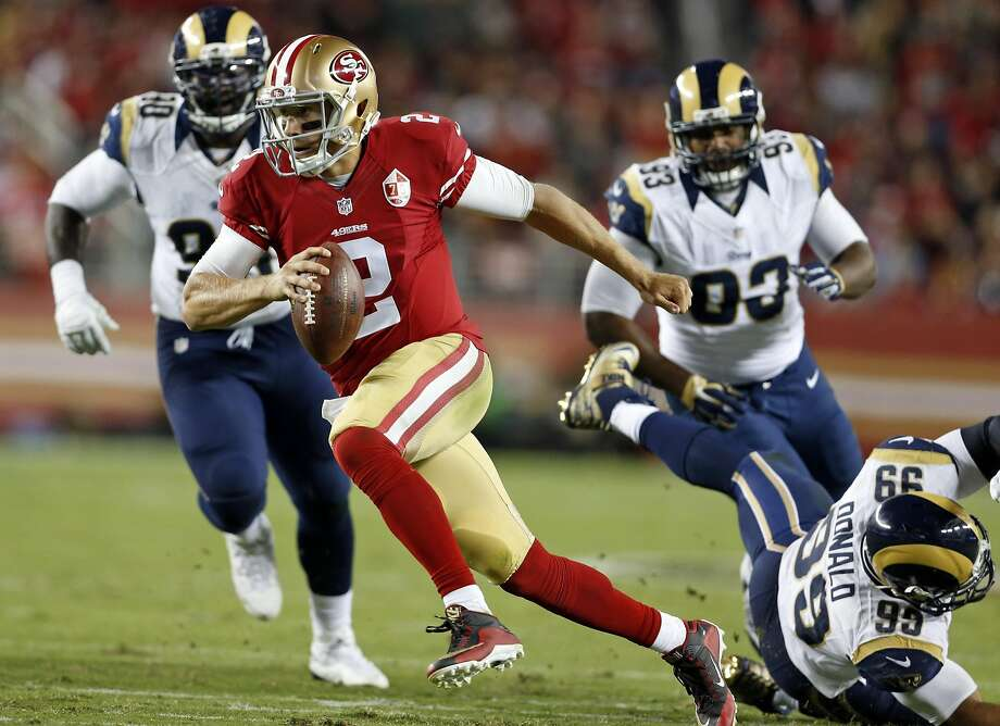 San Francisco 49ers' Blaine Gabbert scrambles in 2nd quarter against Los Angeles Rams during NFL game at Levi's Stadium in Santa Clara, Calif., on Monday, September 12, 2016. Photo: Scott Strazzante, The Chronicle