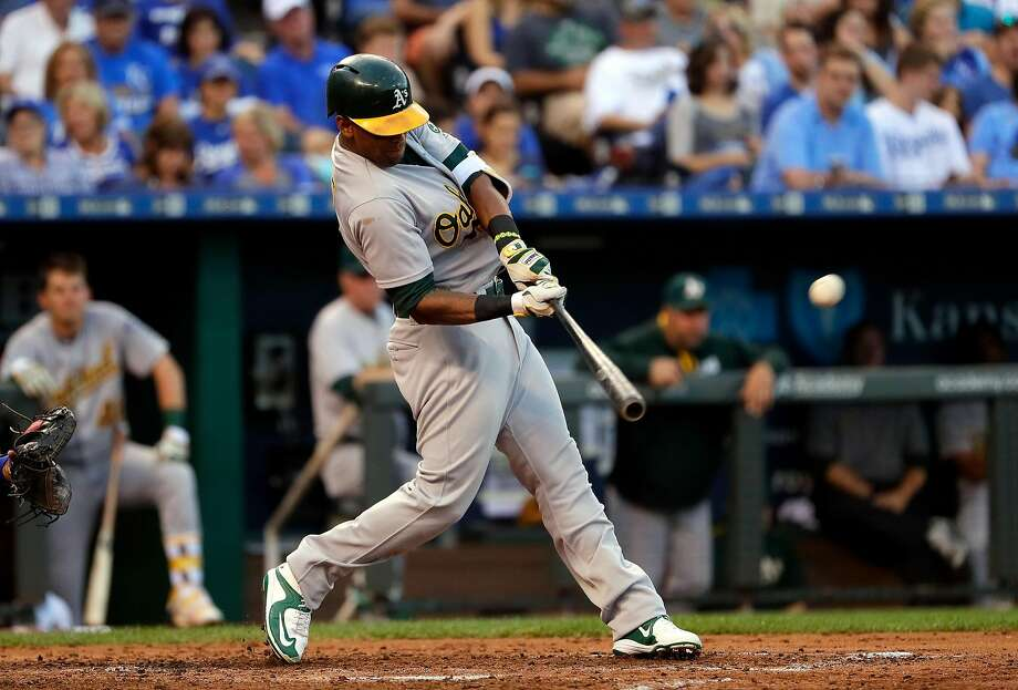 KANSAS CITY, MO - SEPTEMBER 12:  Khris Davis #2 of the Oakland Athletics hits a three-run home run during the 3rd inning of the game against the Kansas City Royals at Kauffman Stadium on September 12, 2016 in Kansas City, Missouri.  (Photo by Jamie Squire/Getty Images) Photo: Jamie Squire, Getty Images