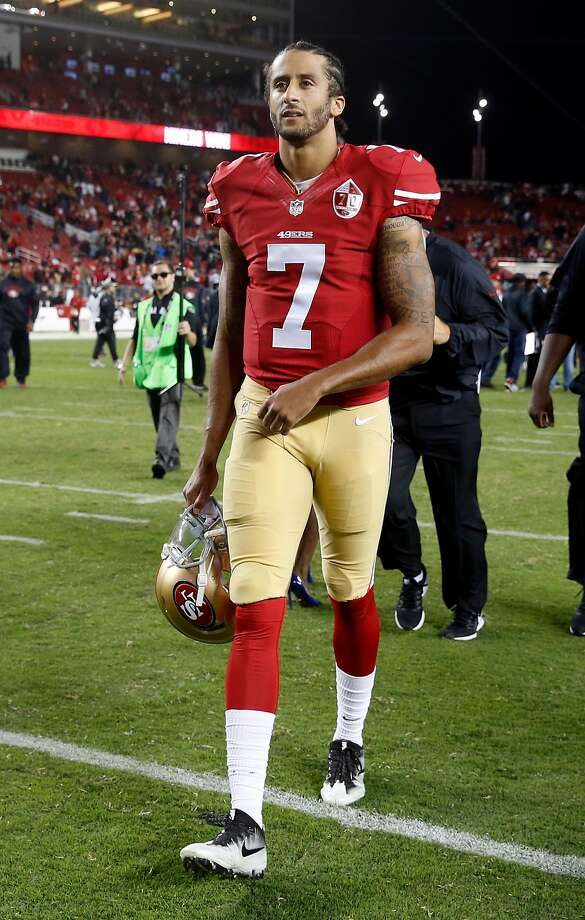 San Francisco 49ers' Colin Kaepernick walks off the field after 28-0 win over Los Angeles Rams during NFL game at Levi's Stadium in Santa Clara, Calif., on Monday, September 12, 2016. Photo: Scott Strazzante, The Chronicle