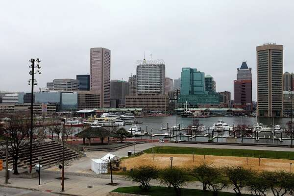 BALTIMORE - APRIL 09:  Partial view of the Baltimore Skyline as photographed from Federal Hill Park on April 9, 2015 in Baltimore, Maryland.  (Photo By Raymond Boyd/Getty Images)