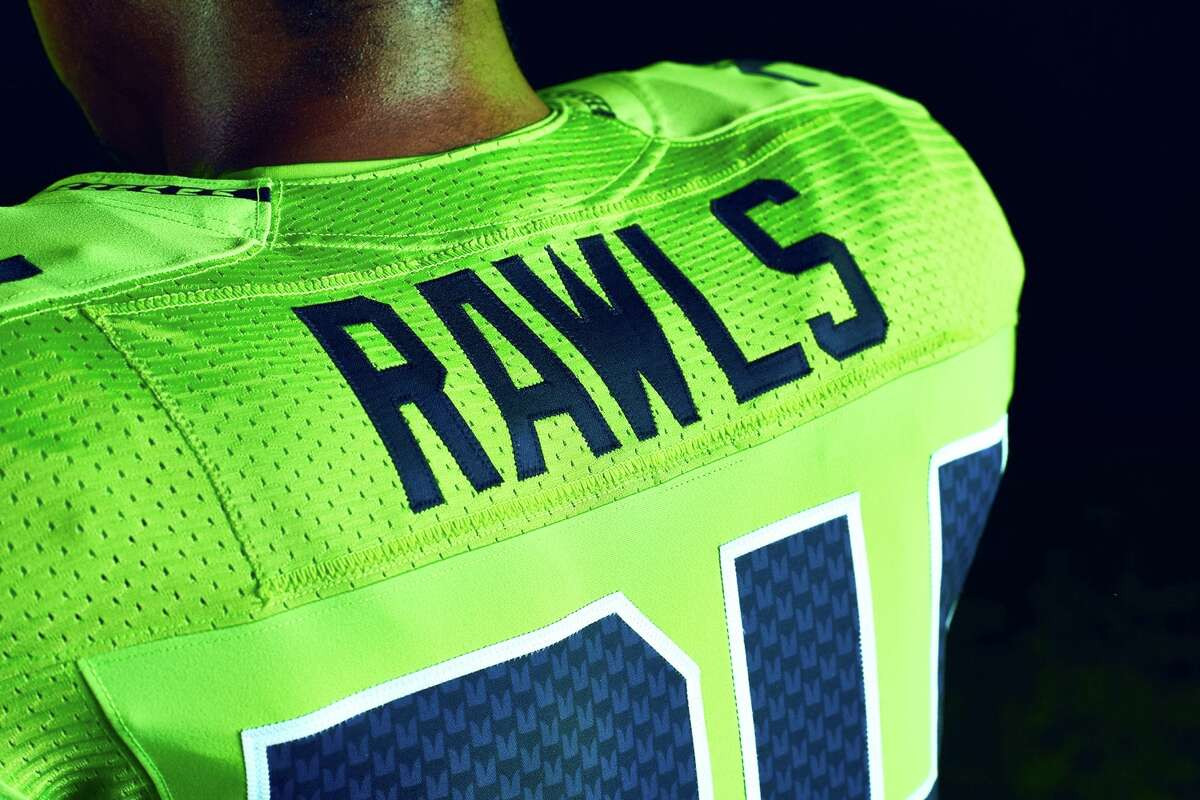 A close-up shot of the Seahawks'