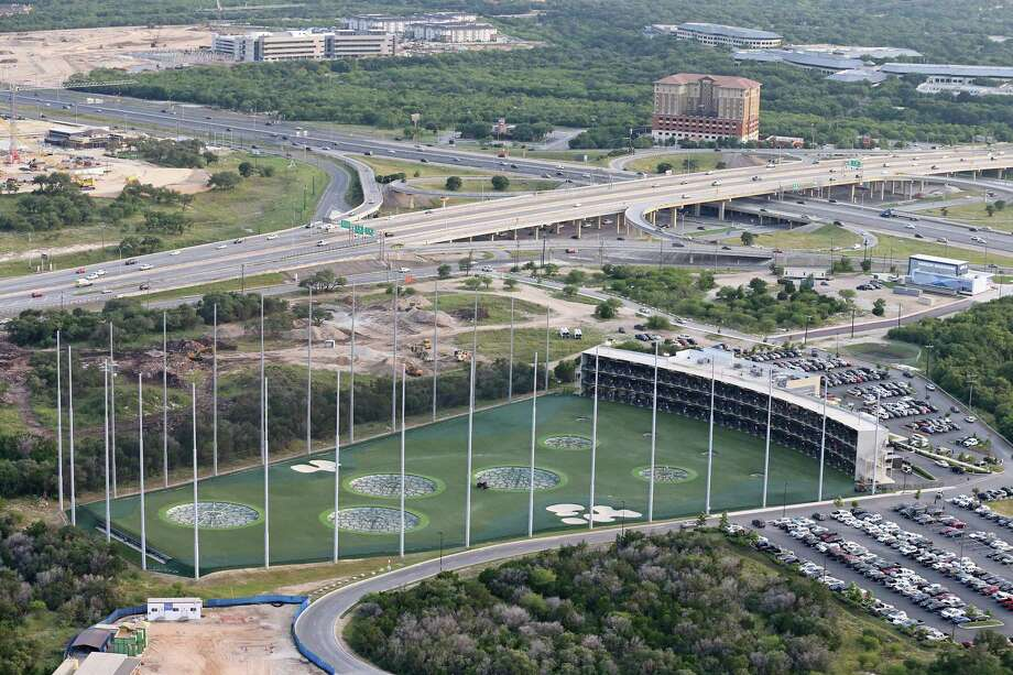 Aerial view of Topgolf entertainment complex. The facility also has a full-service restaurant, bars and a rooftop terrace with fire pit. Photo: Edward A. Ornelas /San Antonio Express-News / © 2016 San Antonio Express-News