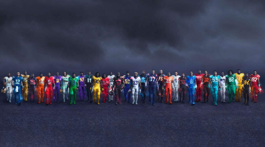 The NFL released the Color Rush uniforms for all 32 teams in 2016. Here's what those uniforms looked like, with a few exceptions. Photo: NFL