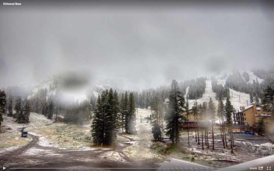 Kirkwood Mountain Resort's live cameras show a light dusting of snow on the mountain on Tuesday, Sept. 13, 2016. Photo: Kirkwood Mountain Resort