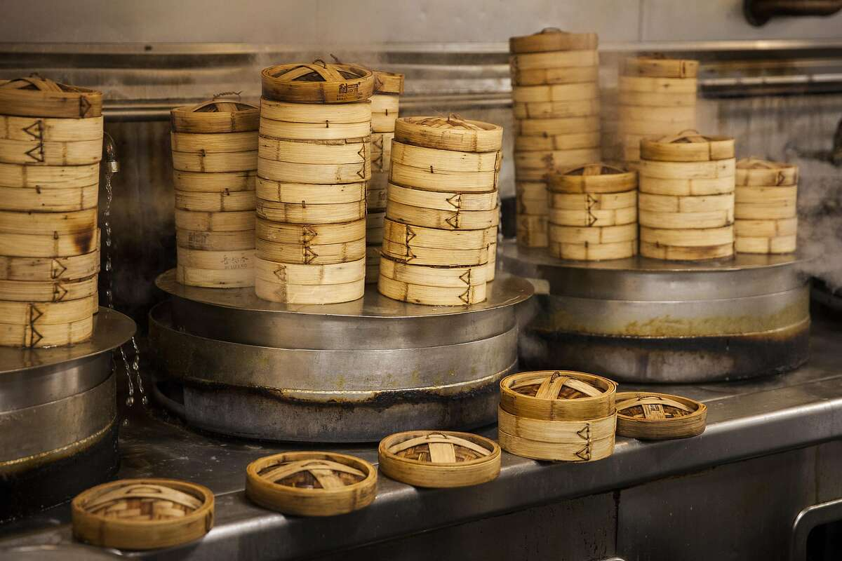 Dim sum steamers at Peony Seafood Restaurant in Oakland, California, USA 10 Sep 2016. (Peter DaSilva/Special to The Chronicle)