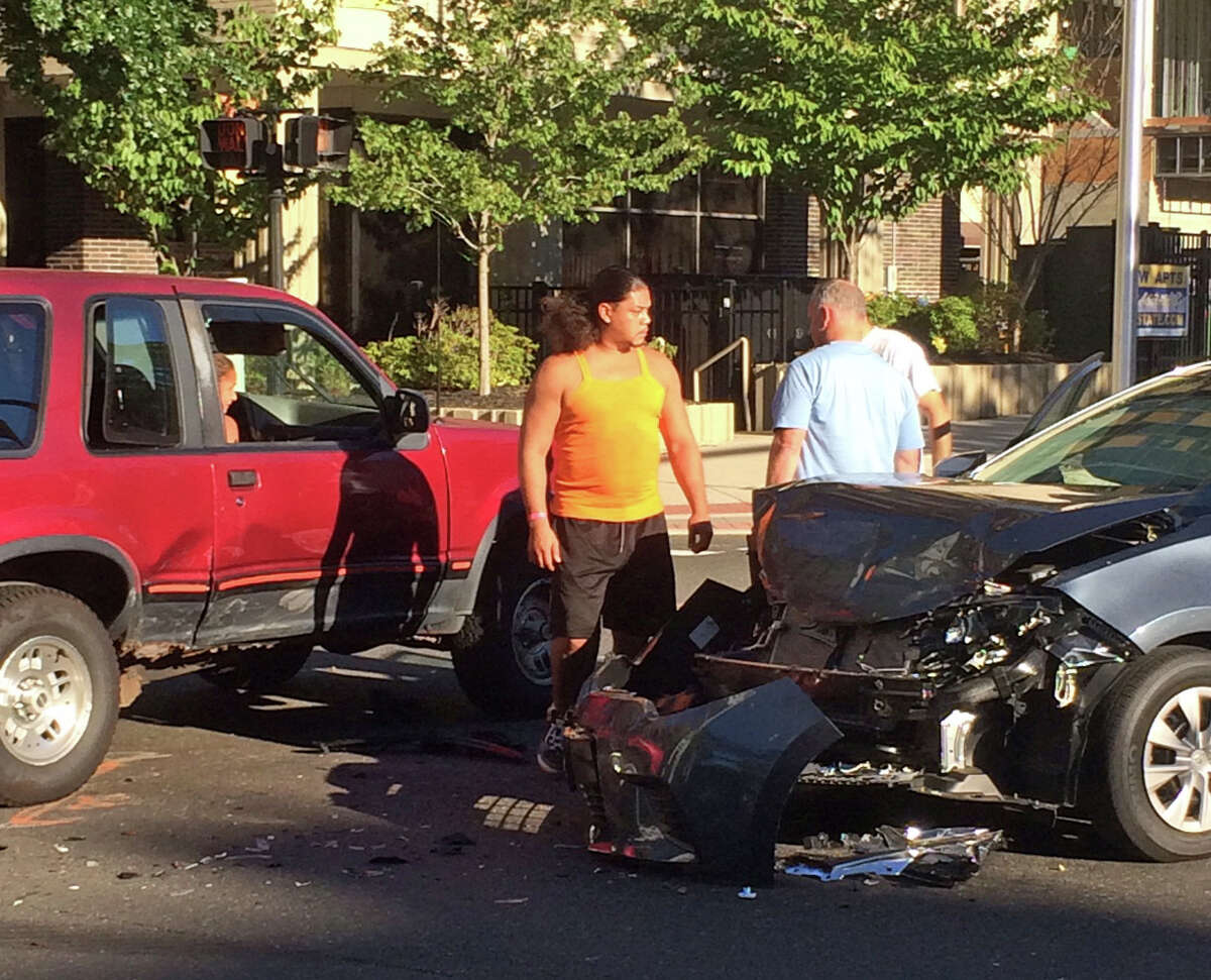 A car accident occured on the corner of State Street and Lafayette Boulevard in Bridgeport, Conn. on Monday, Sept. 12, 2016.