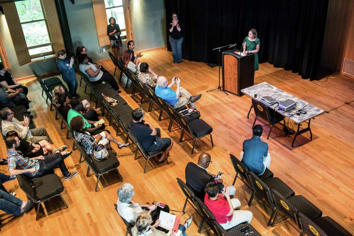 Luminaria's executive director Kathy Armstrong speaks to artists and the press during a press conference giving details about this year's Luminaria Arts Festival at Carver Community Cultural Center on Tuesday, September 13, 2016. The festival will take place this year from November 9-12.