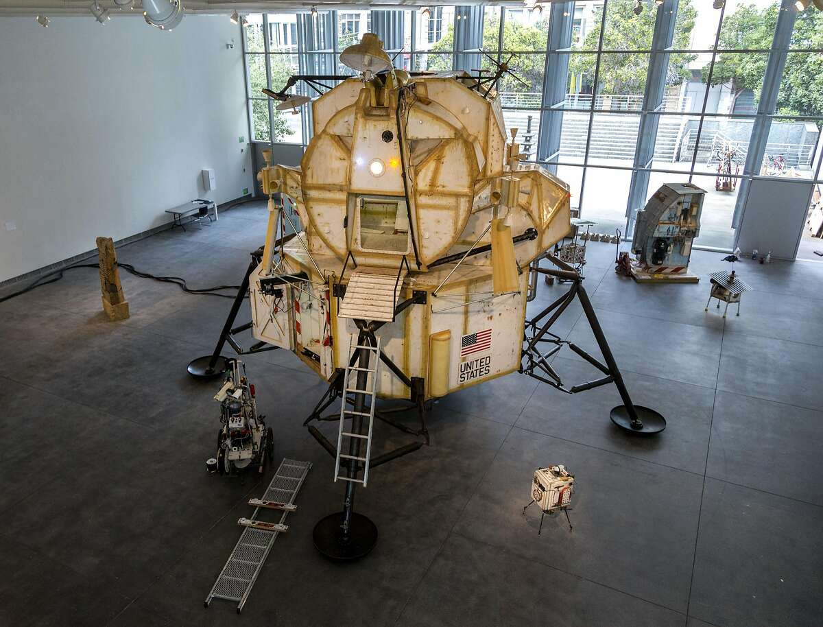"""""""Landing Excursion Module (LEM)"""" (2007-2016) by Tom Sachs, is seen during """"Space Program: Europa,"""" an exhibition at the Yerba Buena Center for the Arts on Monday, Sept. 12, 2016 in San Francisco, Calif. The 23-foot-tall piece is made out of steel, plywood, epoxy resin and mixed media."""