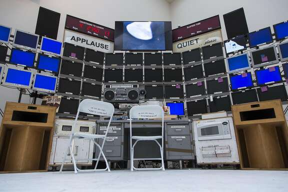 """Mission Control Center"" (2007-2016) by Tom Sachs, is seen during ""Space Program: Europa,"" an exhibition at the Yerba Buena Center for the Arts on Monday, Sept. 12, 2016 in San Francisco, Calif."