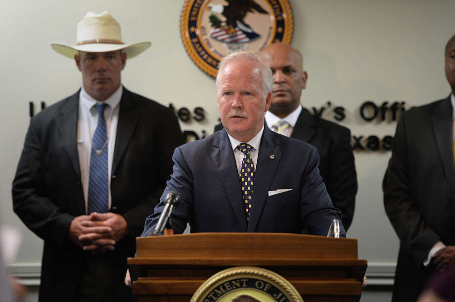 U.S. Attorney Malcolm Bales announced Friday the indictment of Shane Dwayne Hadnot in 2013 the death of Alfred Wright. Bales said Wright's death was accidental and not race based. Photo taken Friday, August 08, 2014 Guiseppe Barranco/@spotnewsshooter Photo: Guiseppe Barranco, Photo Editor