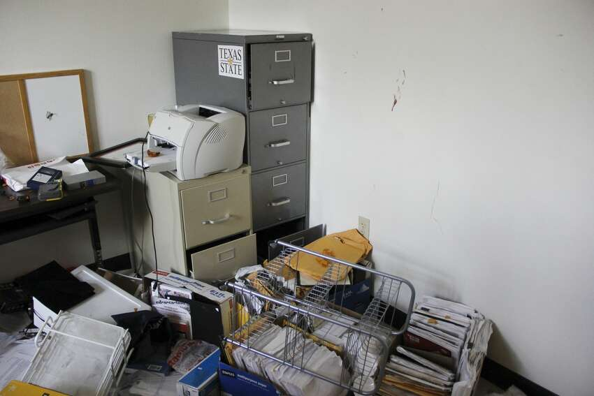3 Texas State professors' offices ransacked, blood left on wall Two offices in Old Main, the school's most recognizable building, and one in nearby Lampasas were ransacked, resulting in university property being damaged.Click here to read more
