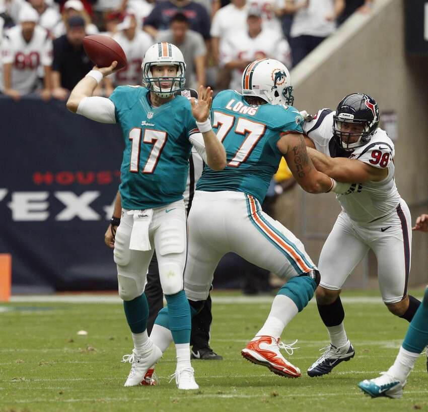 17. Ryan Tannehill, Dolphins Game: 20/36, 219 yards, 0 TD, 3 INT, 39.0 QB rating 2012 Season: 16 GP, 282/484 (58.3%), 3,294 yards, 12 TD, 13 INT, 211 rushing yards, 2 rushing TD The Texans rudely introduced Tannehill to the pros by sacking him twice and picking him off three times. The Dolphins lost 30-10 and finished the season 7-9 with the rookie starting all 16 games. Tannehill has not missed a game since being drafted by the Dolphins in 2012.