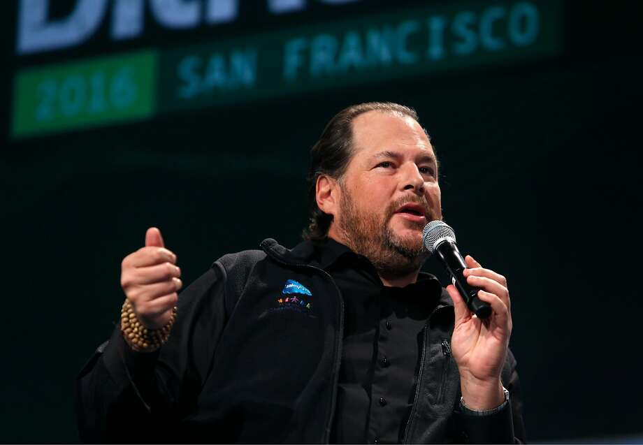 Salesforce CEO Marc Benioff speaks at the TechCrunch Disrupt conference in S.F. in 2016. His company's Dreamforce conference draws 170,000 attendees. Photo: Paul Chinn, The Chronicle