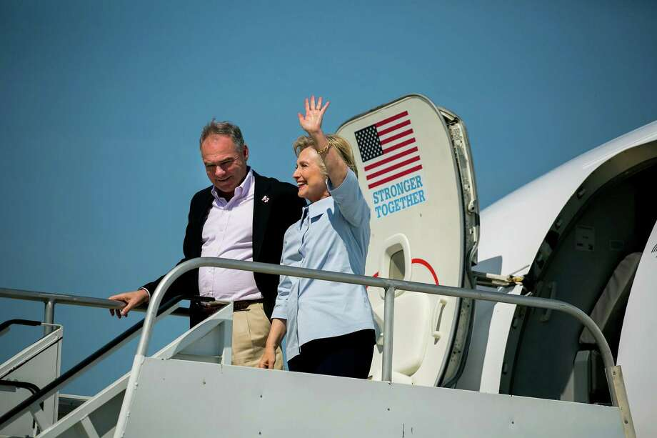 Hillary Clinton, the Democratic presidential nominee, and her running-mate Sen. Tim Kaine, depart the new Clinton campaign jet at Cleveland Hopkins International Airport in Ohio earlier this month. The talk about Clinton's health highlights the importance of vice presidential picks. Photo: SAM HODGSON /NYT / NYTNS
