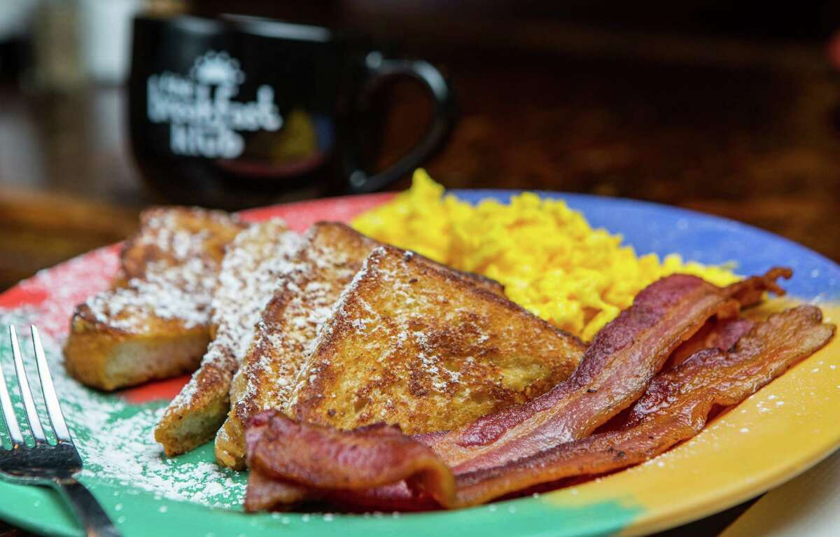 French toast with scrambled eggs and bacon atThe Breakfast Klub