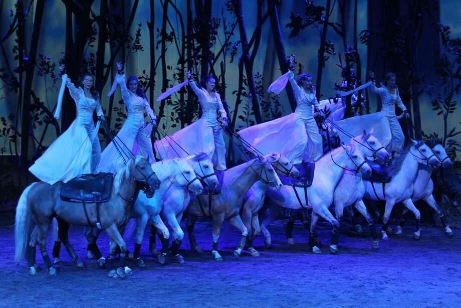 "Some of the 65 horses and 48 artists of ""Odysseo."" Photo: Pascal Ratth�, Cavalia"