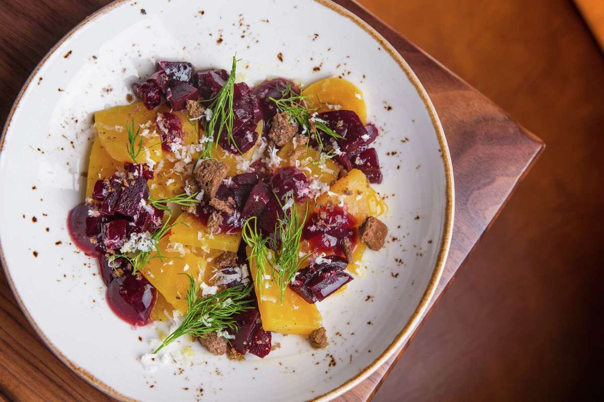 Beets with pickled beet greens, horseradish and pumpernickel at SaltAir