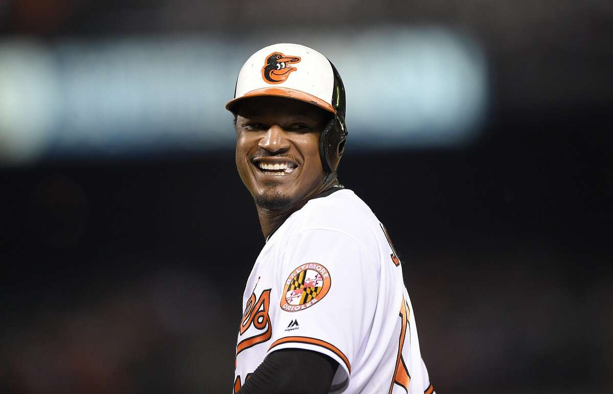 Baltimore Orioles' Adam Jones looks on during a baseball game against the Colorado Rockies, Tuesday, July 26, 2016, in Baltimore. The Rockies won 6-3.(AP Photo/Nick Wass)