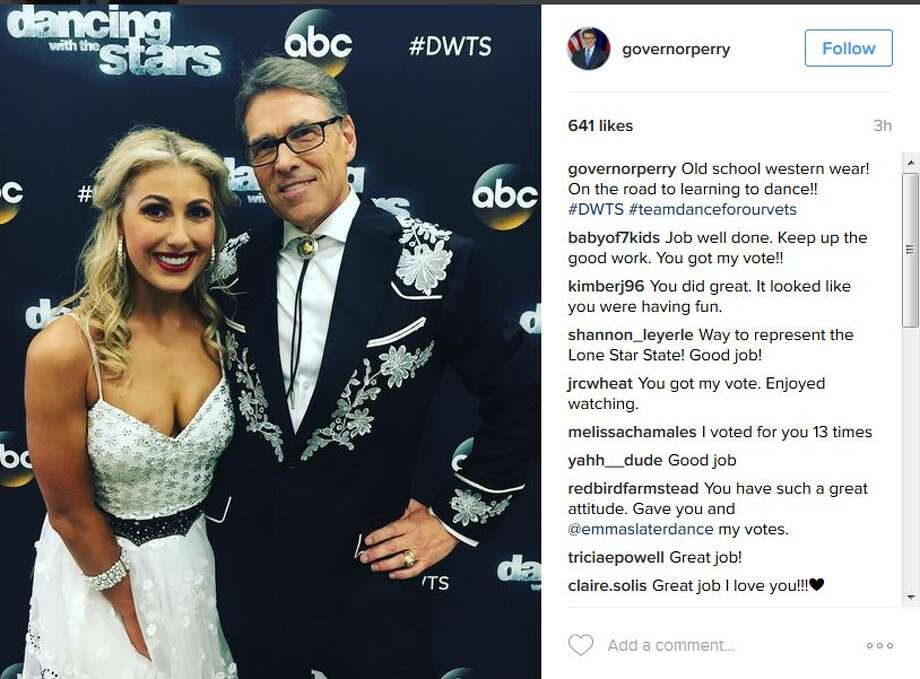 governorperryOld school western wear! On the road to learning to dance!! #DWTS #teamdanceforourvets Photo: Instagram Screen Shots