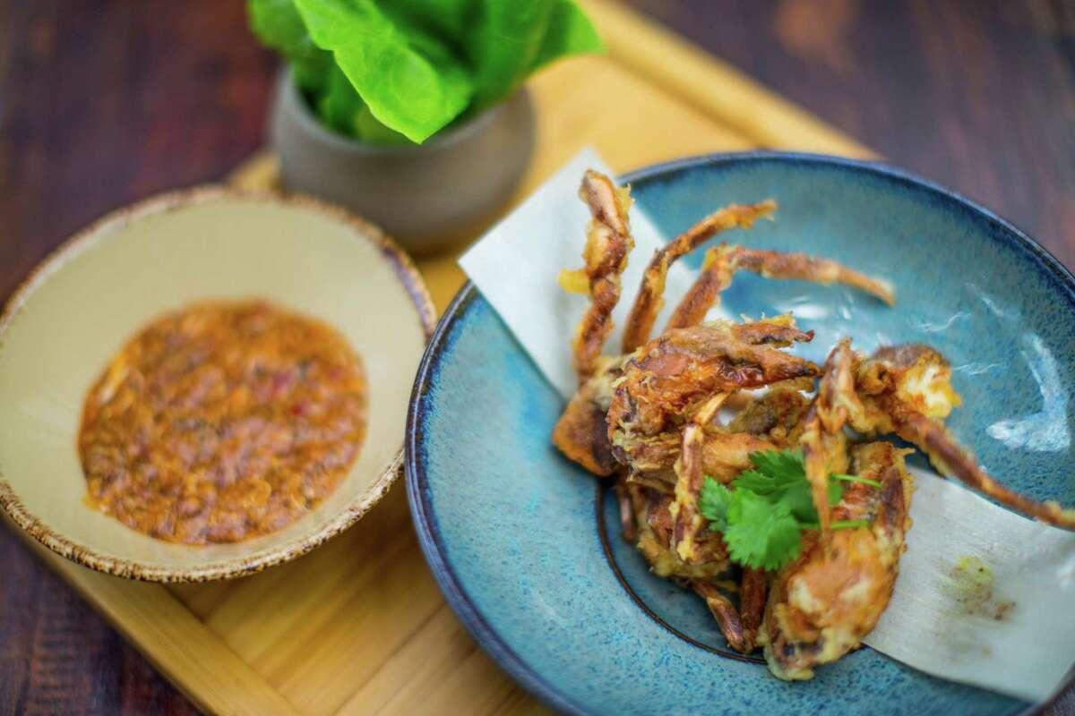 Soft shell crab tempura with Singapore chile crab sauce at Kata Robata