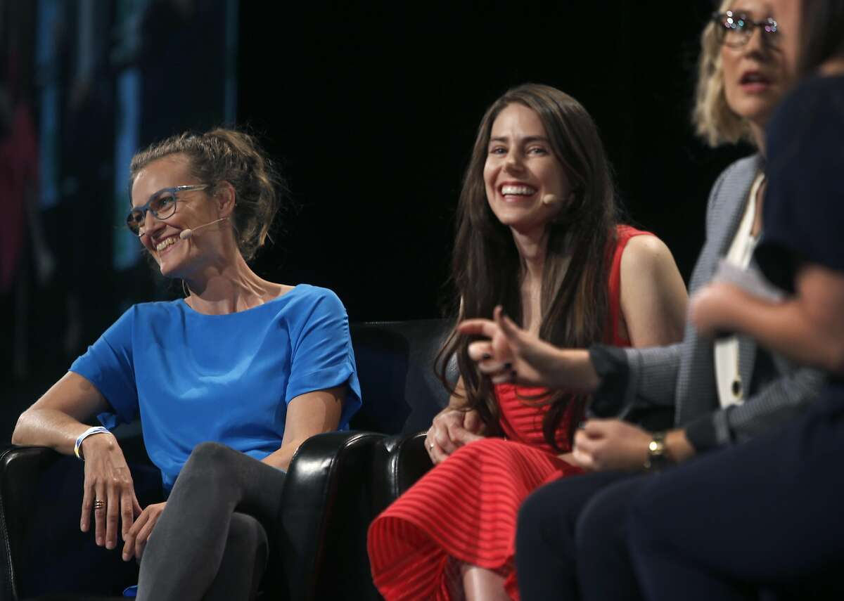 Ida Tin (left) of Clue sits on a panel discussion about women's health with Deborah Anderson-Bialis (center) and Janica Alvarez at the TechCrunch Disrupt conference in San Francisco, Calif. on Tuesday, Sept. 13, 2016.