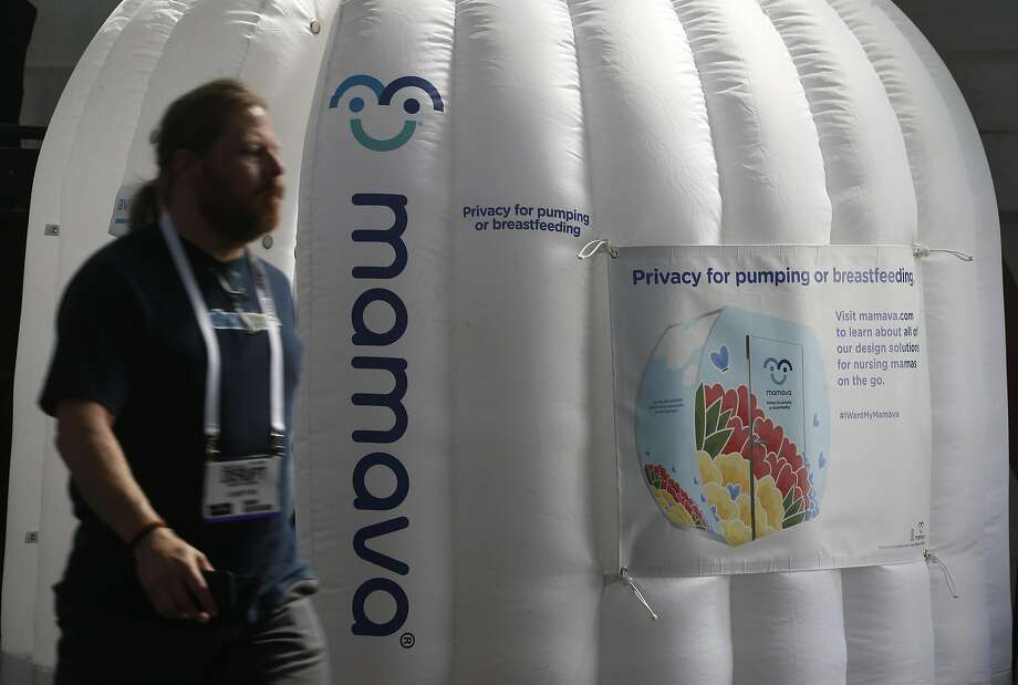 An inflatable breastfeeding station is set up at the TechCrunch Disrupt conference in San Francisco, Calif. on Tuesday, Sept. 13, 2016. Photo: Paul Chinn, The Chronicle