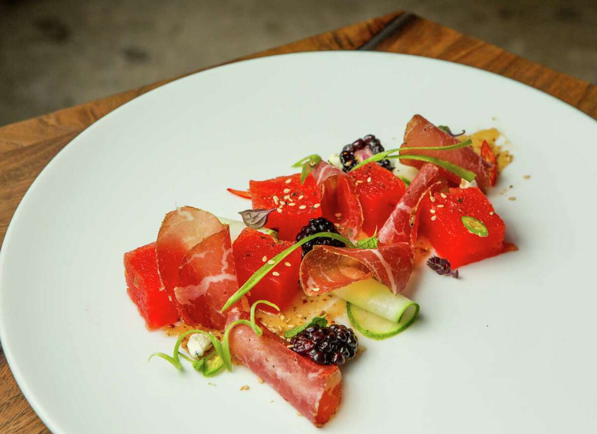 Bresaola with compressed watermelon and cucumber paneer at Underbelly