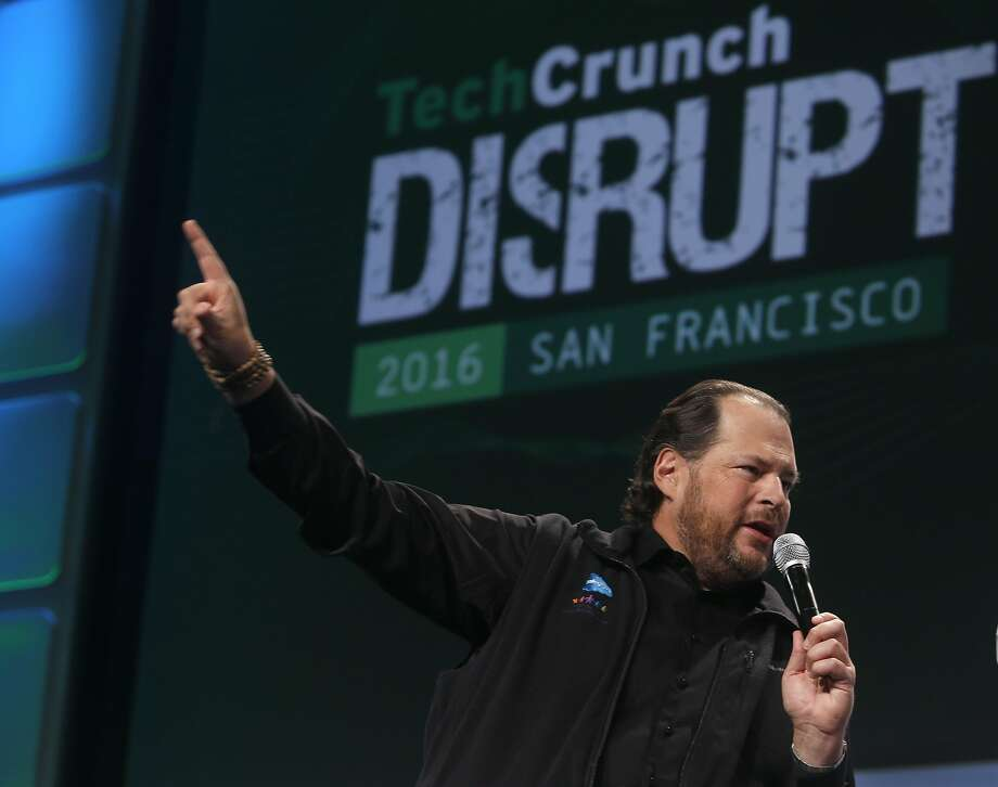 Salesforce CEO Marc Benioff speaks at the TechCrunch Disrupt conference in San Francisco, Calif. on Tuesday, Sept. 13, 2016. Photo: Paul Chinn, The Chronicle