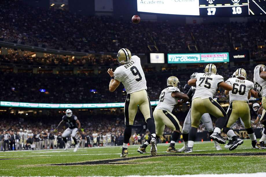 Fantasy football owners who had Drew Brees — or favorite target Brandin Cooks — in their lineup were pleased with the Saints duo's production against the Raiders. Photo: Butch Dill, Associated Press