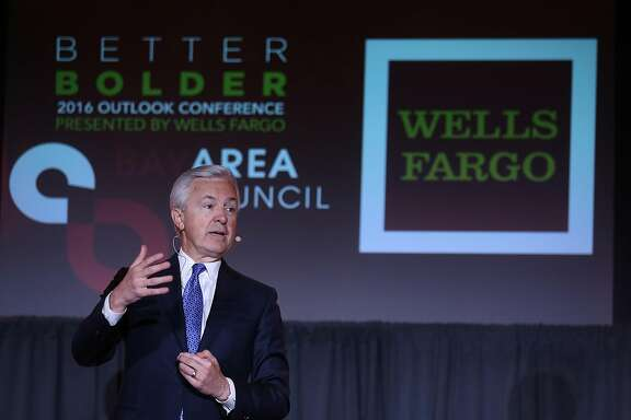 SAN FRANCISCO, CA - MAY 17:  Wells Fargo CEO John Stumpf speaks at the Bay Area Council Outlook Conference on May 17, 2016 in San Francisco, California. In January, the investment research company Morningstar named as its 2015 CEO of the year Stumpf, who beat out two other nominees Jeff Bezos of Amazon and Jeff Immelt of General Electric.  (Photo by Justin Sullivan/Getty Images)