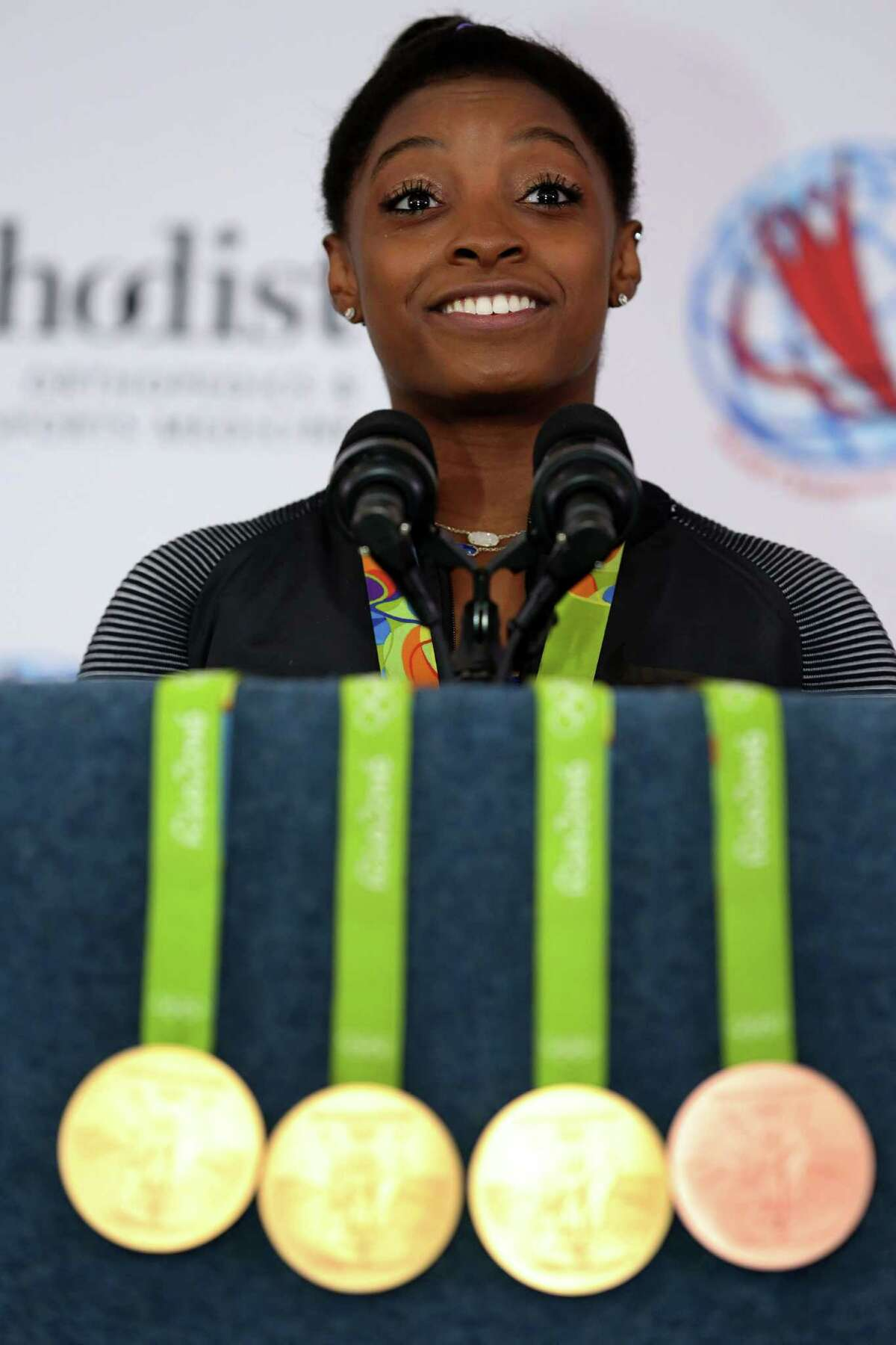 Gymnast Simone Biles hopes to add to her collection in the 2020 Olympics.