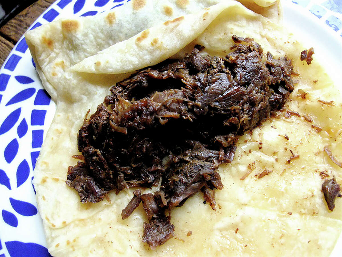 At Villa Arcos: barbacoa taco