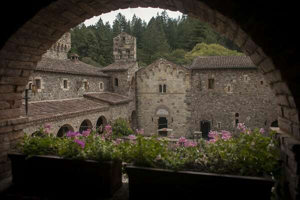 View through an arch on the second level of Castello di Amorosa, a winery located in Calistoga that is a replicated European medieval castle, on September 30th 2013.