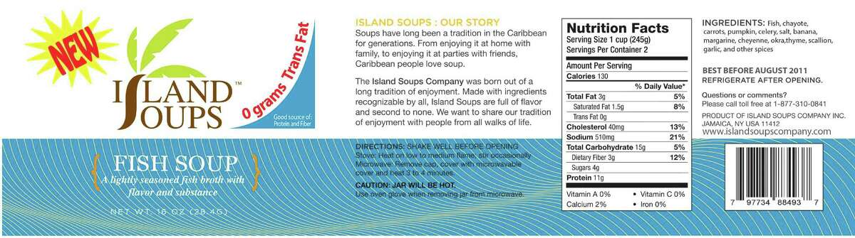 Island Soups Company, Inc. of Saint Albans, N.Y. is recalling several products because they have the potential to be contaminated with Clostridium botulinum (also known as botulism). Photo courtesy of the U.S. Food and Drug Administration.