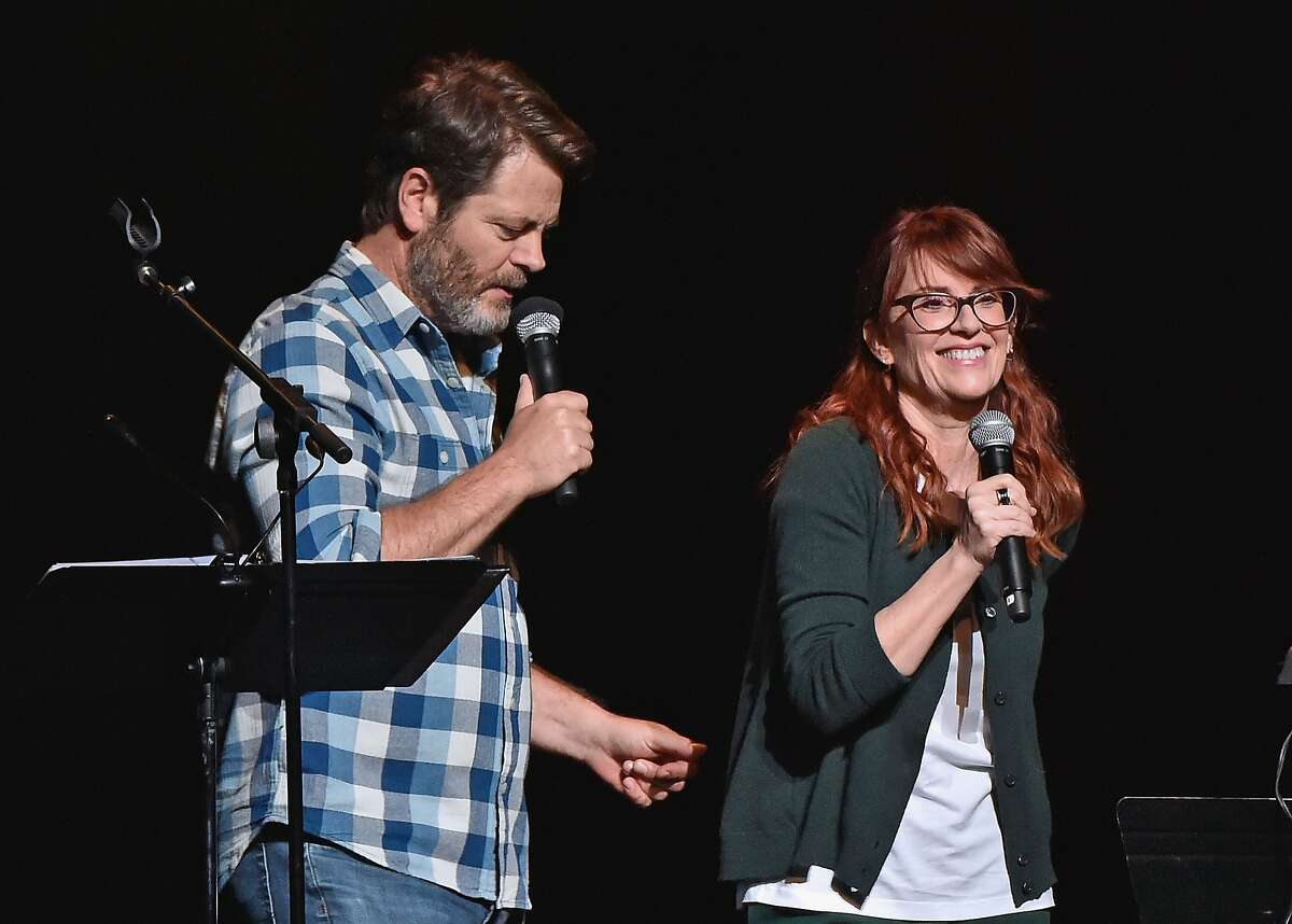 NEW YORK, NY - AUGUST 23: Actors Nick Offerman (L) and wife Megan Mullally perform Summer Of 69: No Apostrophe at Beacon Theatre on August 23, 2016 in New York City. (Photo by Mike Coppola/Getty Images)