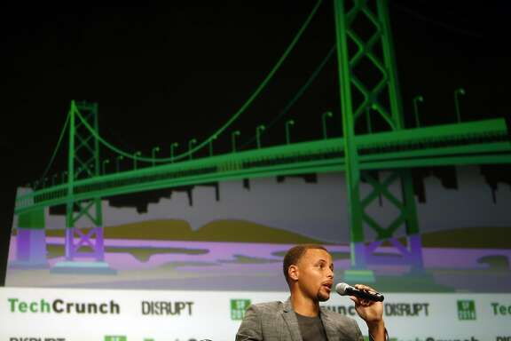 Stephen Curry speaks at TechCrunch Disrupt about his work with the United Nations Foundation's Nothing But Nets campaign, a global movement to save lives by fighting malaria. Photographed at Pier 48 in San Francisco, Calif., on Tuesday, September 13, 2016.