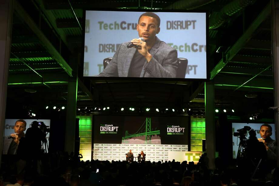 Stephen Curry speaks at TechCrunch Disrupt about his work with the United Nations Foundation's Nothing But Nets campaign, a global movement to save lives by fighting malaria. Photographed at Pier 48 in San Francisco, Calif., on Tuesday, September 13, 2016. Photo: Scott Strazzante, The Chronicle