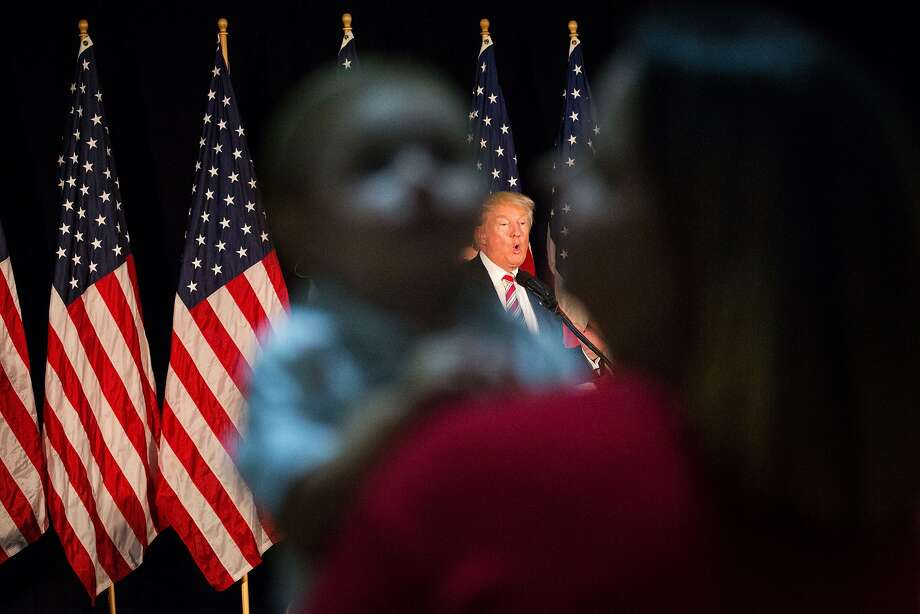 Donald Trump at a campaign event where he discussed his child care proposals, in Aston, Pa., a suburb of Philadelphia, Sept. 13, 2016. In a fresh attempt to court the female voters whose support has eluded him throughout the campaign, Trump called for six weeks of mandatory paid maternity leave and expanded tax credits. (Damon Winter/The New York Times) Photo: DAMON WINTER, NYT
