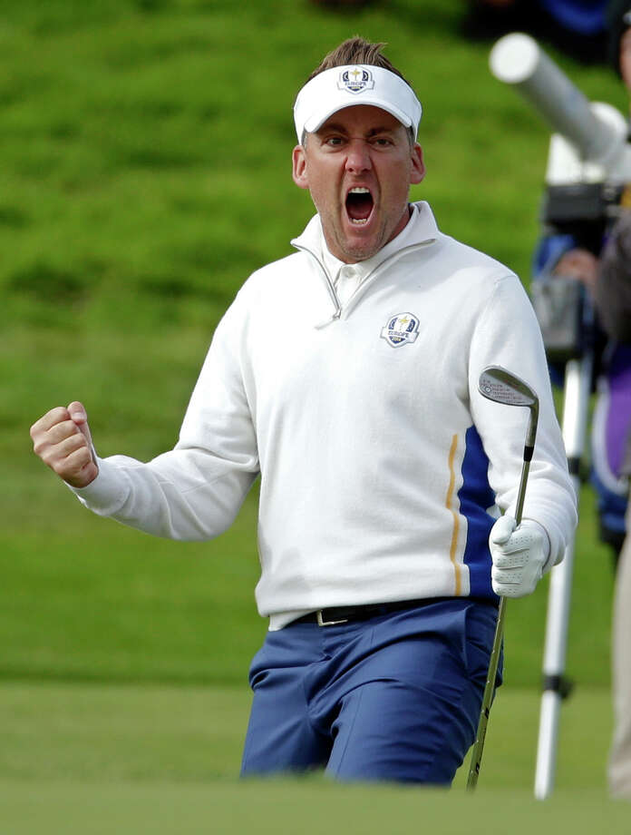 FILE - In this Sept. 27, 2014, file photo, Europe's Ian Poulter celebrates on the 15th green during a fourball match on the second day of the Ryder Cup golf tournament at Gleneagles, Scotland. Poulter will be at this fifth straight Ryder Cup, this time as a vice captain as he recovers from a foot injury. (AP Photo/Matt Dunham, File) ORG XMIT: NY171 Photo: Matt Dunham / Copyright 2016 The Associated Press. All rights reserved.