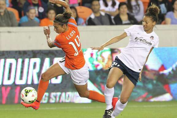 The offensive skills of Carli Lloyd, left, have been sharpened by four games with the U.S. Olympic team and four games with the Dash after a knee injury caused her to miss several months.
