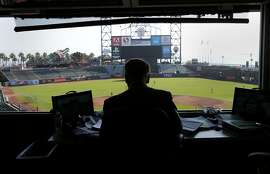 Vin Scully looks out on AT&T park as he prepares for the upcoming Dodgers-Giants game Sunday September 14, 2014. Hall of Fame Los Angeles Dodgers announcer Vin Scully was at AT&T park for the last Giants series and after six decades is still in his prime.