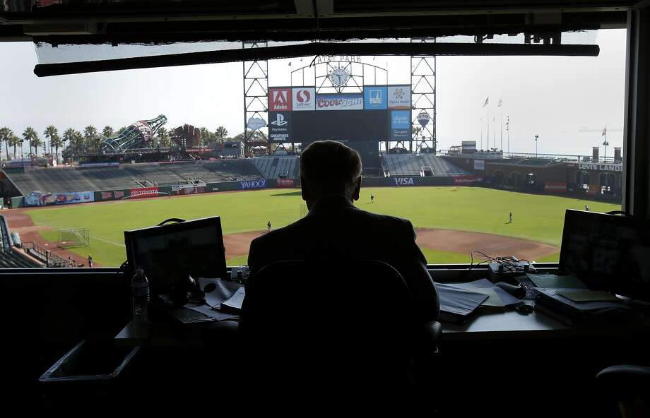 Vin Scully looks out on AT&T park as he prepares for the upcoming Dodgers-Giants game Sunday September 14, 2014. Hall of Fame Los Angeles Dodgers announcer Vin Scully was at AT&T park for the last Giants series and after six decades is still in his prime. Photo: Brant Ward, The Chronicle