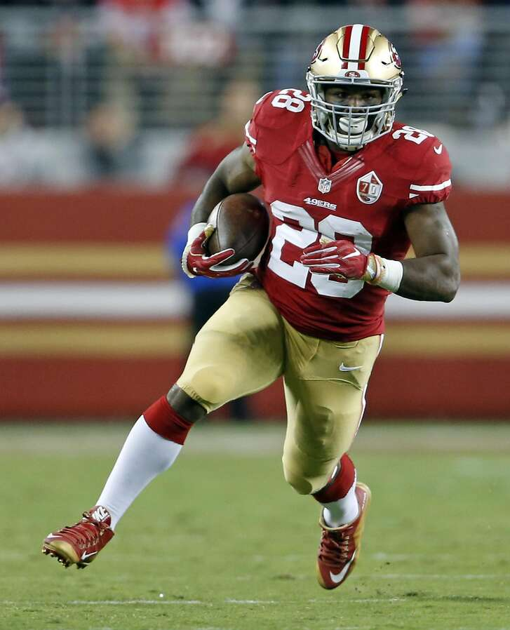 San Francisco 49ers' Carlos Hyde against Los Angeles Rams during NFL game at Levi's Stadium in Santa Clara, Calif., on Monday, September 12, 2016.