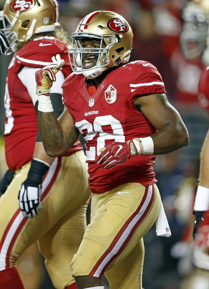 San Francisco 49ers' Carlos Hyde against Los Angeles Rams during NFL game at Levi's Stadium in Santa Clara, Calif., on Monday, September 12, 2016. Photo: Scott Strazzante, The Chronicle