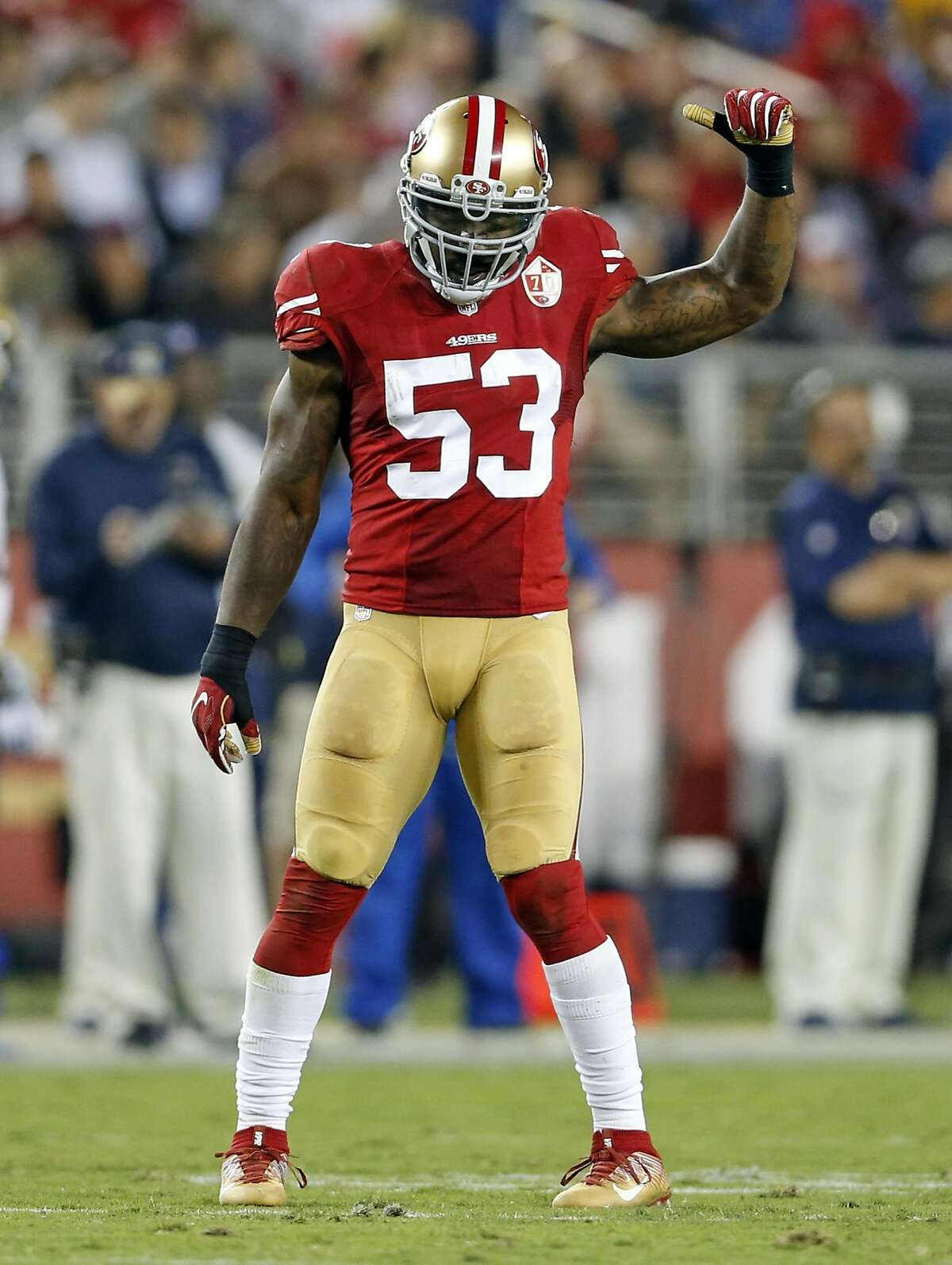 San Francisco 49ers' NaVorro Bowman against Los Angeles Rams during NFL game at Levi's Stadium in Santa Clara, Calif., on Monday, September 12, 2016.