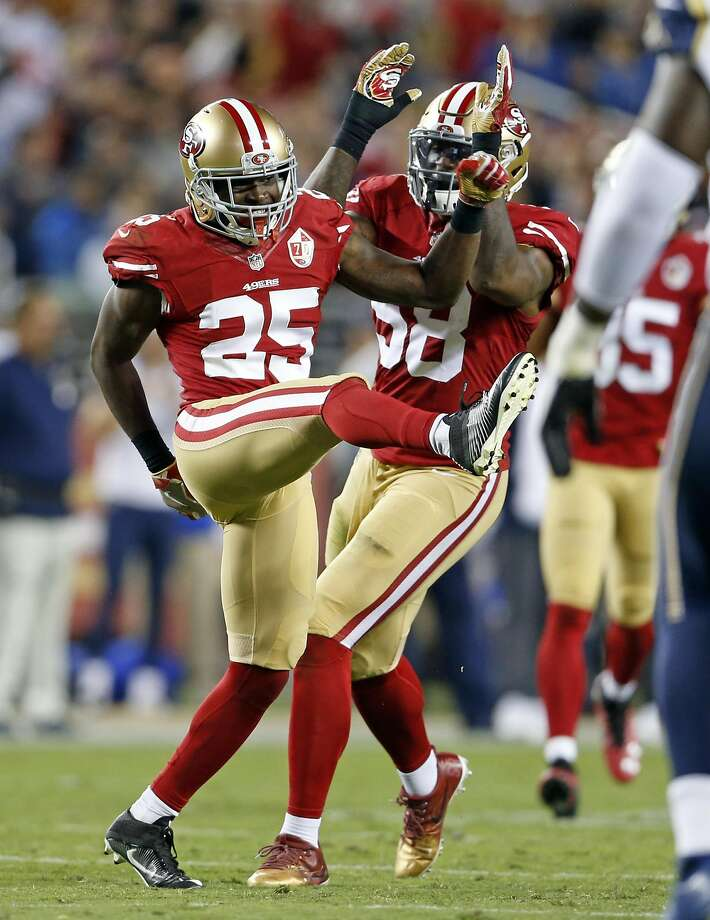 San Francisco 49ers' Jimmie Ward (25) and Eli Harold (58) against Los Angeles Rams during NFL game at Levi's Stadium in Santa Clara, Calif., on Monday, September 12, 2016. Photo: Scott Strazzante, The Chronicle