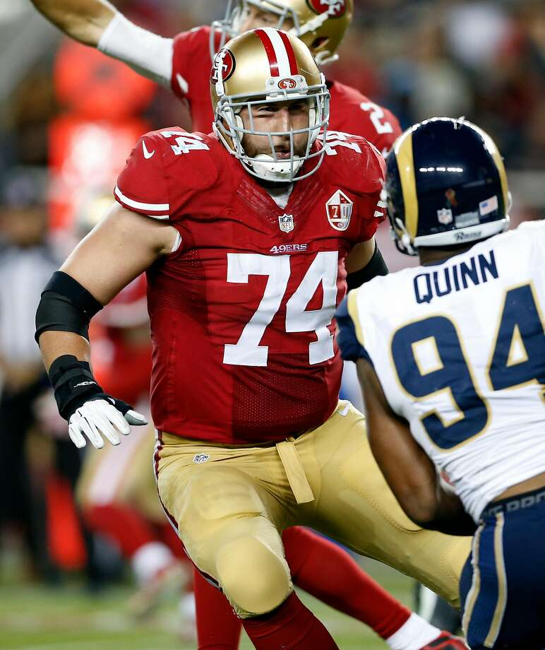 San Francisco 49ers' Joe Staley against Los Angeles Rams during NFL game at Levi's Stadium in Santa Clara, Calif., on Monday, September 12, 2016. Photo: Scott Strazzante / The Chronicle