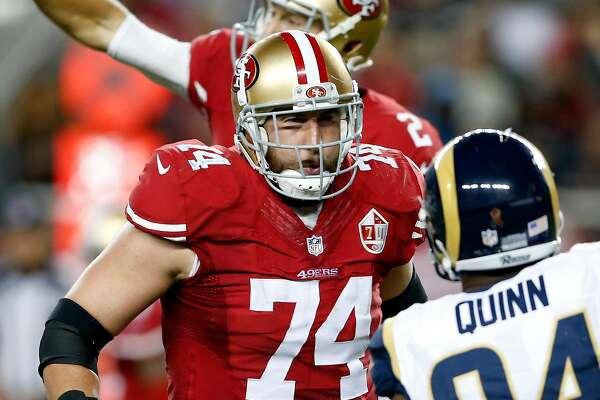 San Francisco 49ers' Joe Staley against Los Angeles Rams during NFL game at Levi's Stadium in Santa Clara, Calif., on Monday, September 12, 2016.