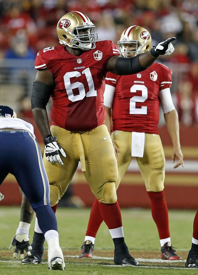 San Francisco 49ers' Andrew Tiller and Blaine Gabbert against Los Angeles Rams during NFL game at Levi's Stadium in Santa Clara, Calif., on Monday, September 12, 2016. Photo: Scott Strazzante, The Chronicle