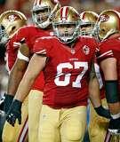 San Francisco 49ers' Daniel Kilgore against Los Angeles Rams during NFL game at Levi's Stadium in Santa Clara, Calif., on Monday, September 12, 2016.